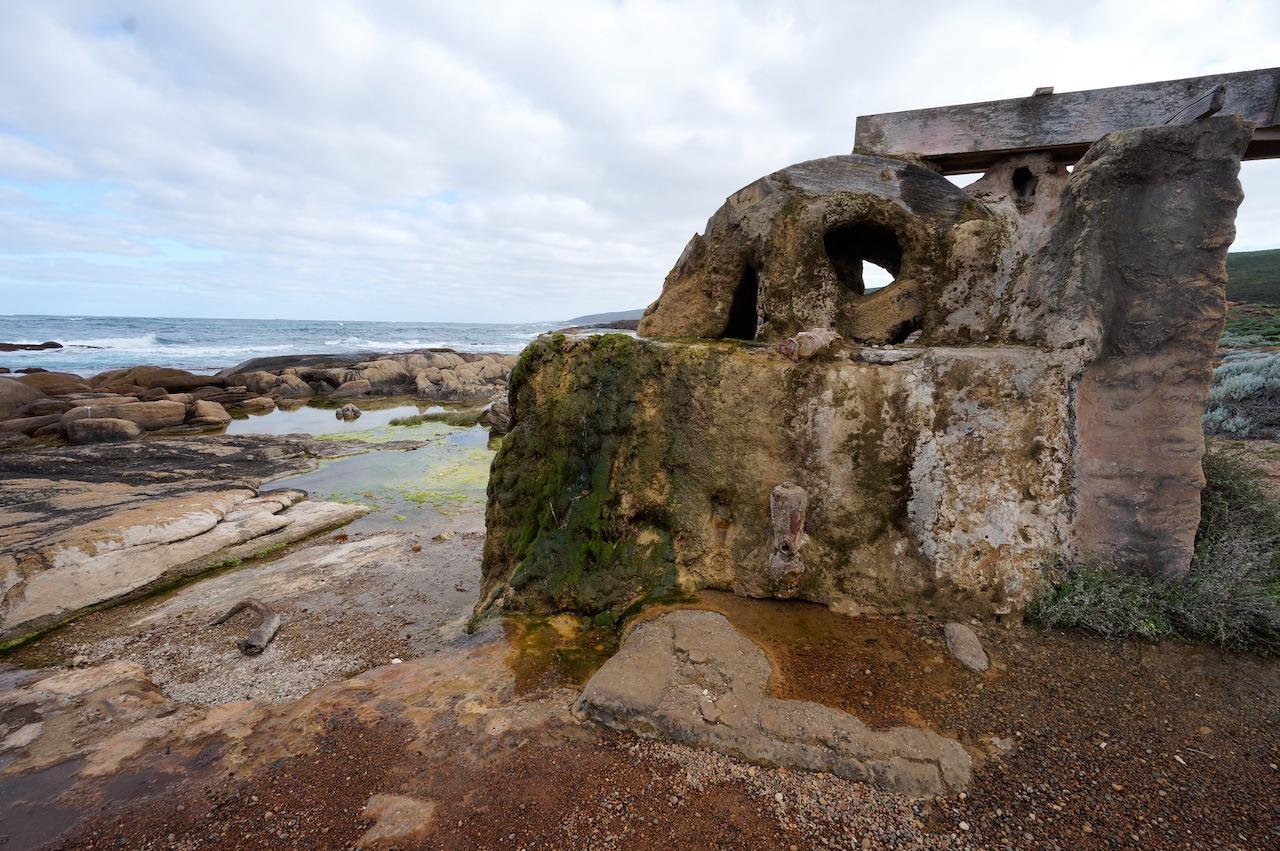 The encrusted waterwheel - Cape Leeuwin Lighthouse, near Augusta,