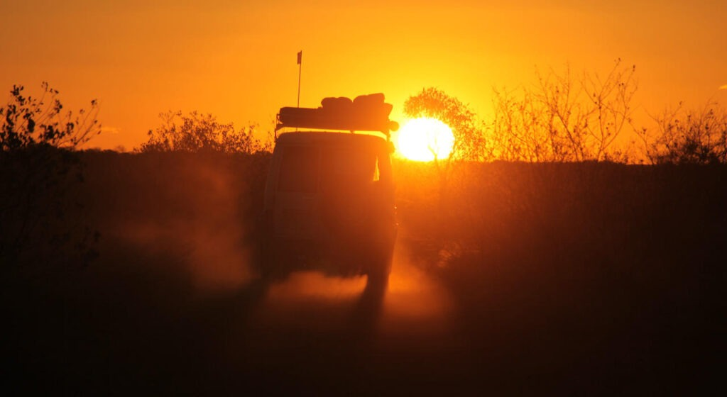 Private Tour Guiding - Sunset on the way to Mt Dare in South Australia