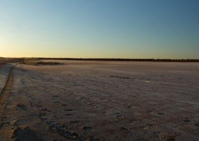 Along one of the salt lakes at dusk on the Simpson Desert French Line