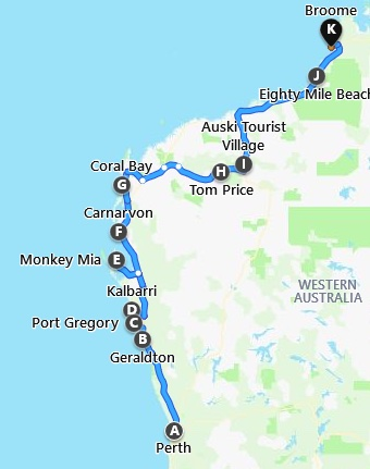 Map Perth to Broome Tour